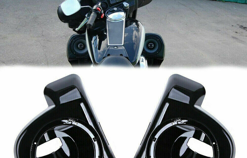Pair 6.5″ Speaker Pods Boxes Lower Vented Fairing For Harley Touring 2014-2021