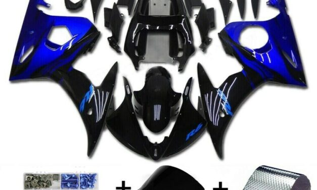 Fairing Blue Black Injection Plastic Kit w/bolt Fit For YAMAHA 2005 YZF R6