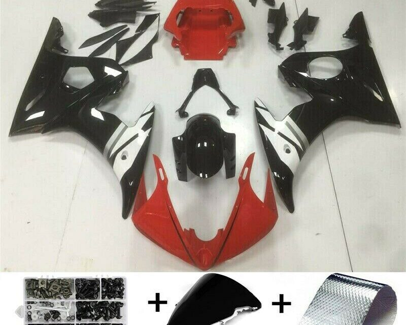 Fairing Injection Plastic Set Red White w/bolt set Suitable for YAMAHA 2005 YZF R6