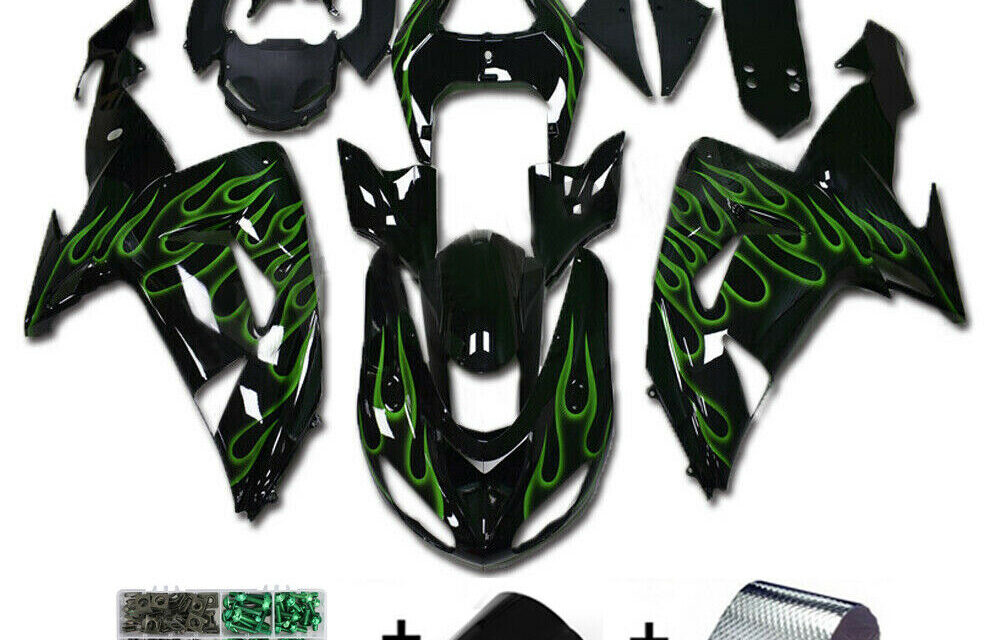 Green Flames Injection Fairing Kit Plastic Fit for Kawasaki ZX10R 2006 2007 SF